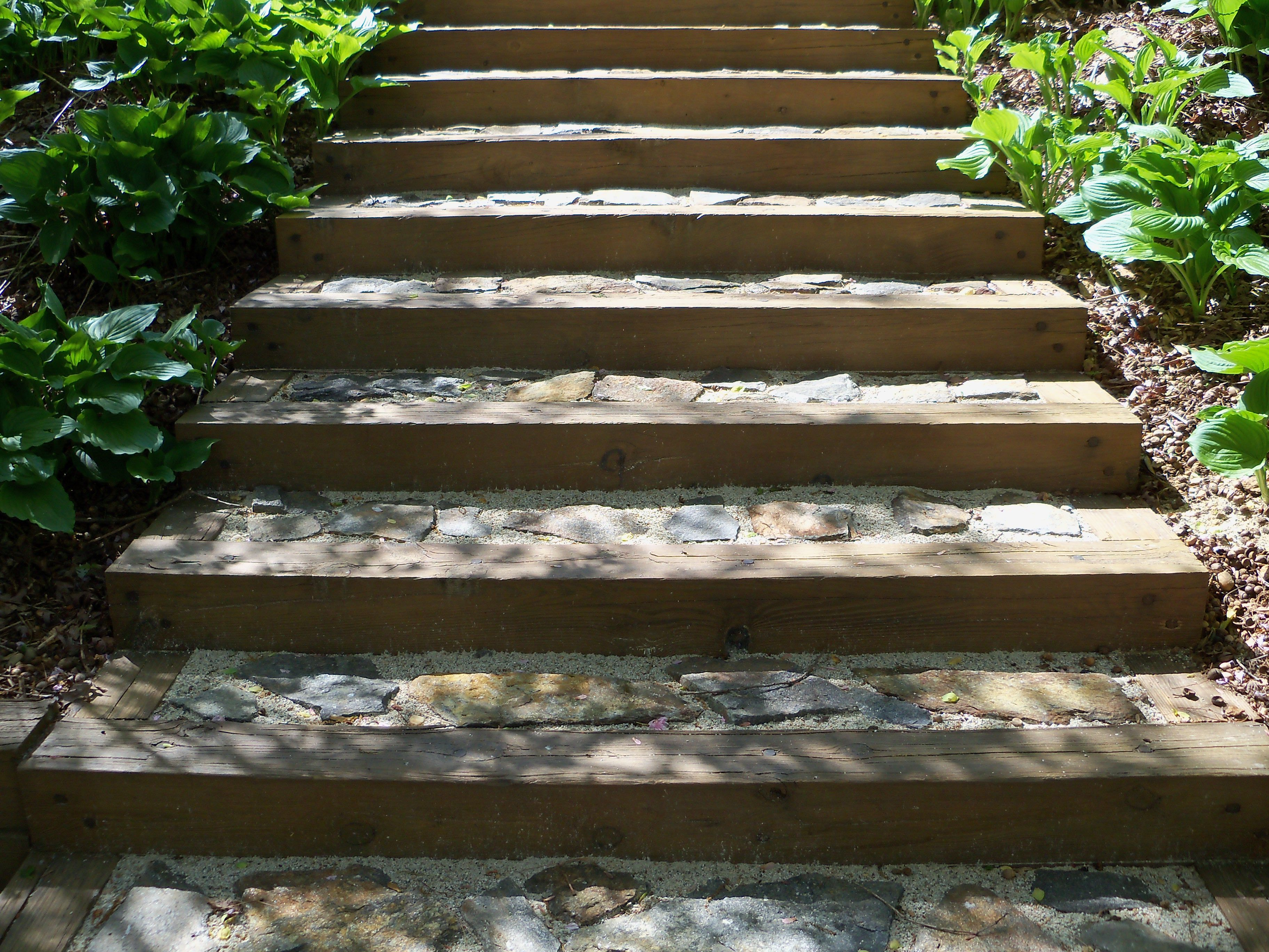 Stone steps set in sand and landscape timber. | Home Gardening and ...