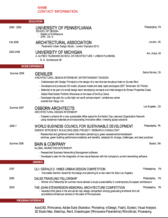 Osborn Architects Resume Sample Architect resume sample