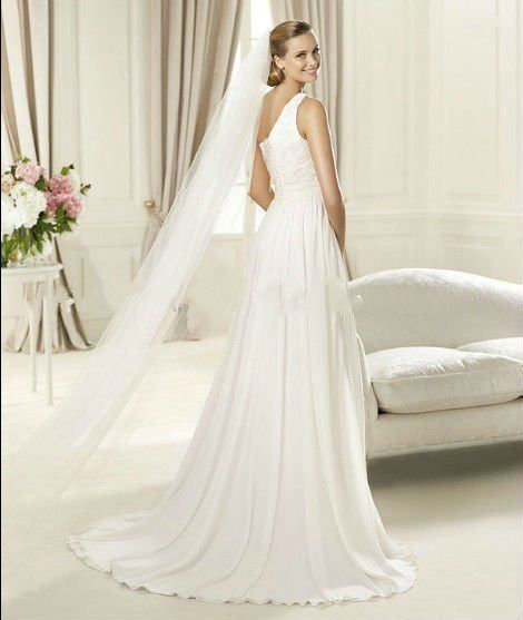 2014 New Arrival One-Shoulder With Veil Pleat Draped Chiffon A Line Wedding Dress