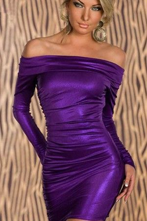 16bdde2cfe7b Purple Off Shoulder Long Sleeve Ruched Sexy Bodycon Dress