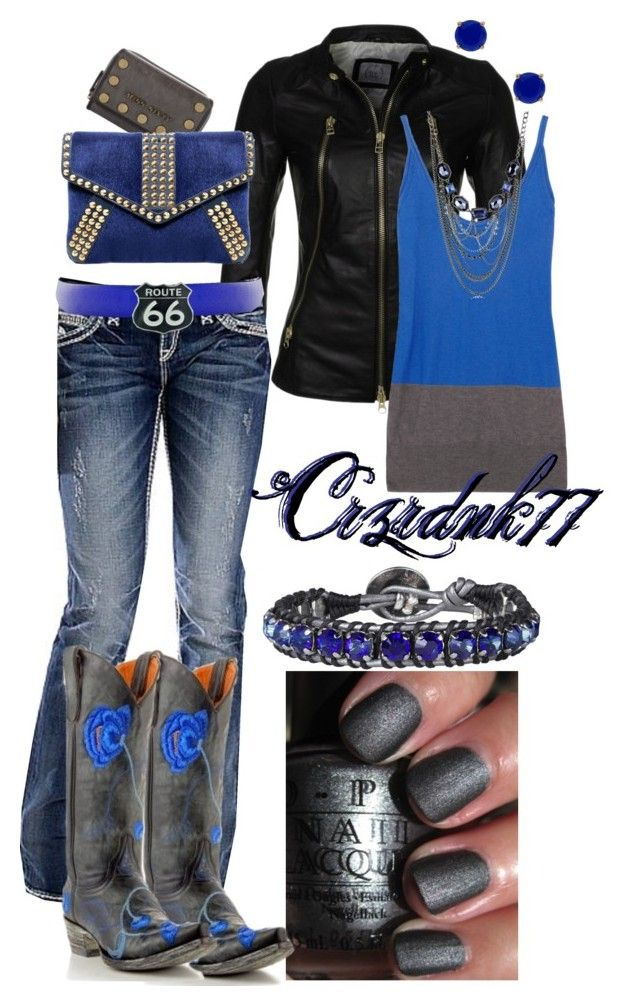 Black and Cobalt by crzrdnk77 on Polyvore featuring T By Alexander Wang, Addition by SLY 010, Rock Revival, Miss Sixty, Hely Designs, Kenneth Cole, Kate Spade, Post & Co, OPI and Old Gringo