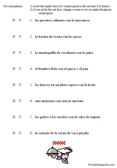 free printable spanish worksheet packet on food vocabulary lunch ...