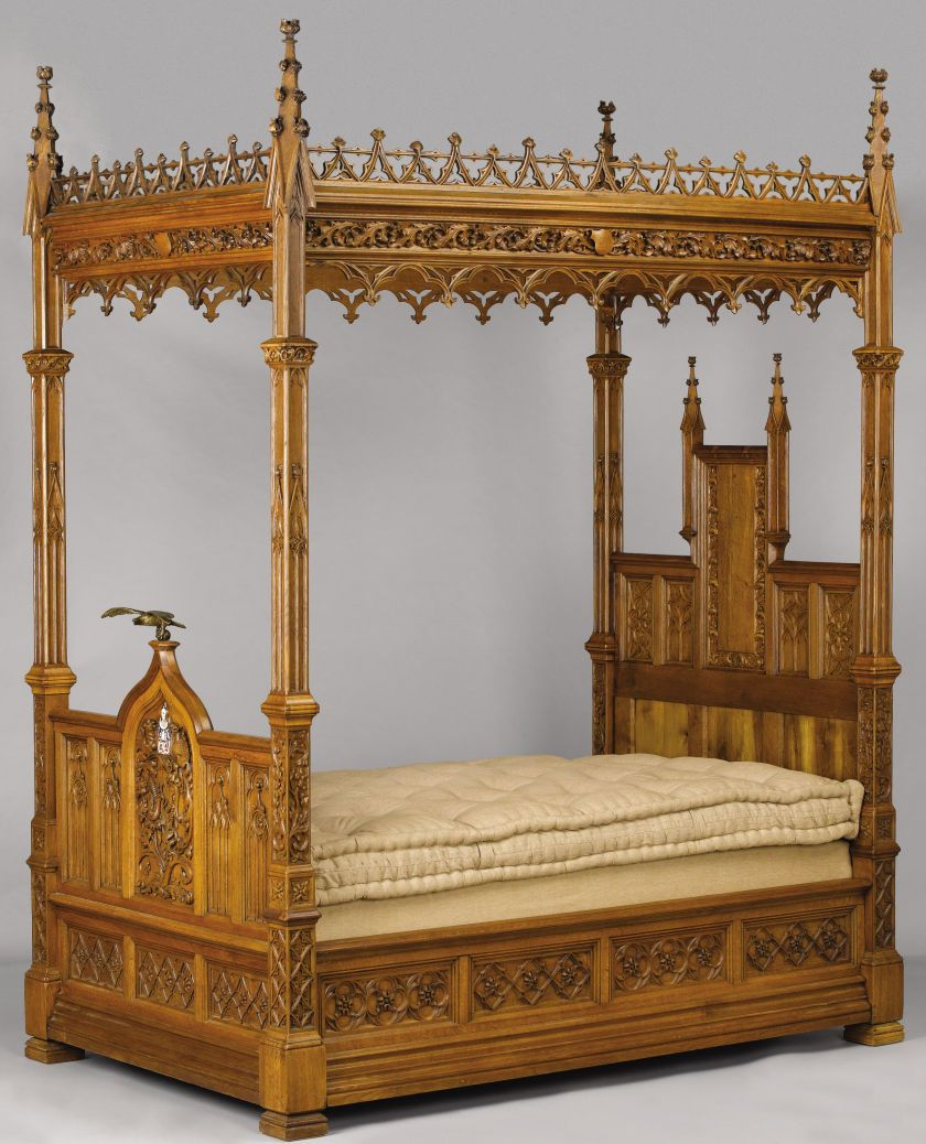 Mobili In Stile Gotico an english gothic revival oak tester bed. late 19th century