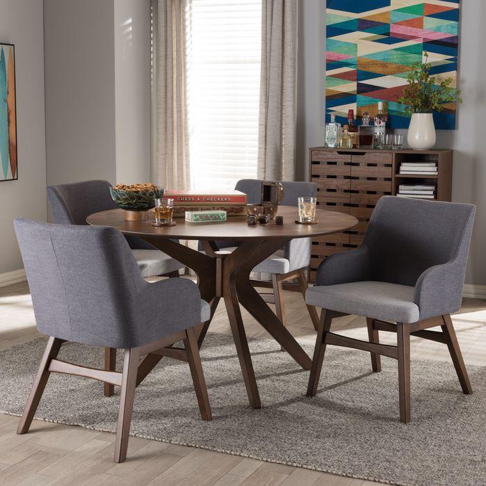 Monte Mid Century Modern Wood Round 5 Piece Dining Set