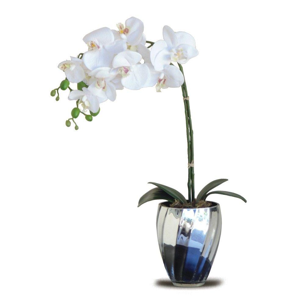Arranjo De Flores Artificiais Orquideas 45x15cm Com Imagens