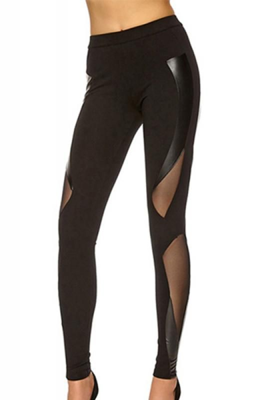 Black See-through Mesh Splicing Leggings | dream closet ...