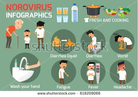 Norovirus (Winter Vomiting Bug): Symptoms and Treatment. Norovirus infographics elements. vector illustration.