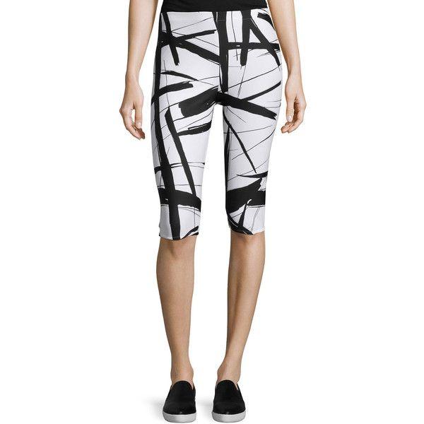 Norma Kamali Abstract-Lines Capri Leggings ($54) ❤ liked on Polyvore featuring pants, leggings, abstract l, cropped leggings, pull on pants, cropped trousers, capri leggings and elastic waist pants