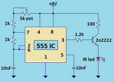 TV Remote Jammer Using 555 IC Circuit Diagram Electronic