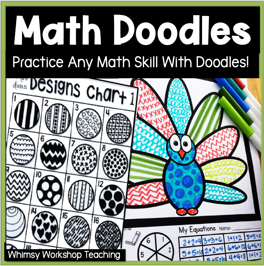 Math Doodles First Grade Math Skills Fun Whimsy Workshop Teaching Math Doodles First Grade Math Math Art [ 918 x 912 Pixel ]