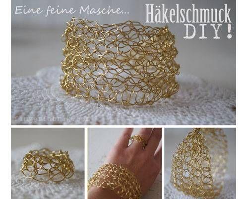 Ring und Armband häkeln - für Golden Girls   einfache Armbänder ...