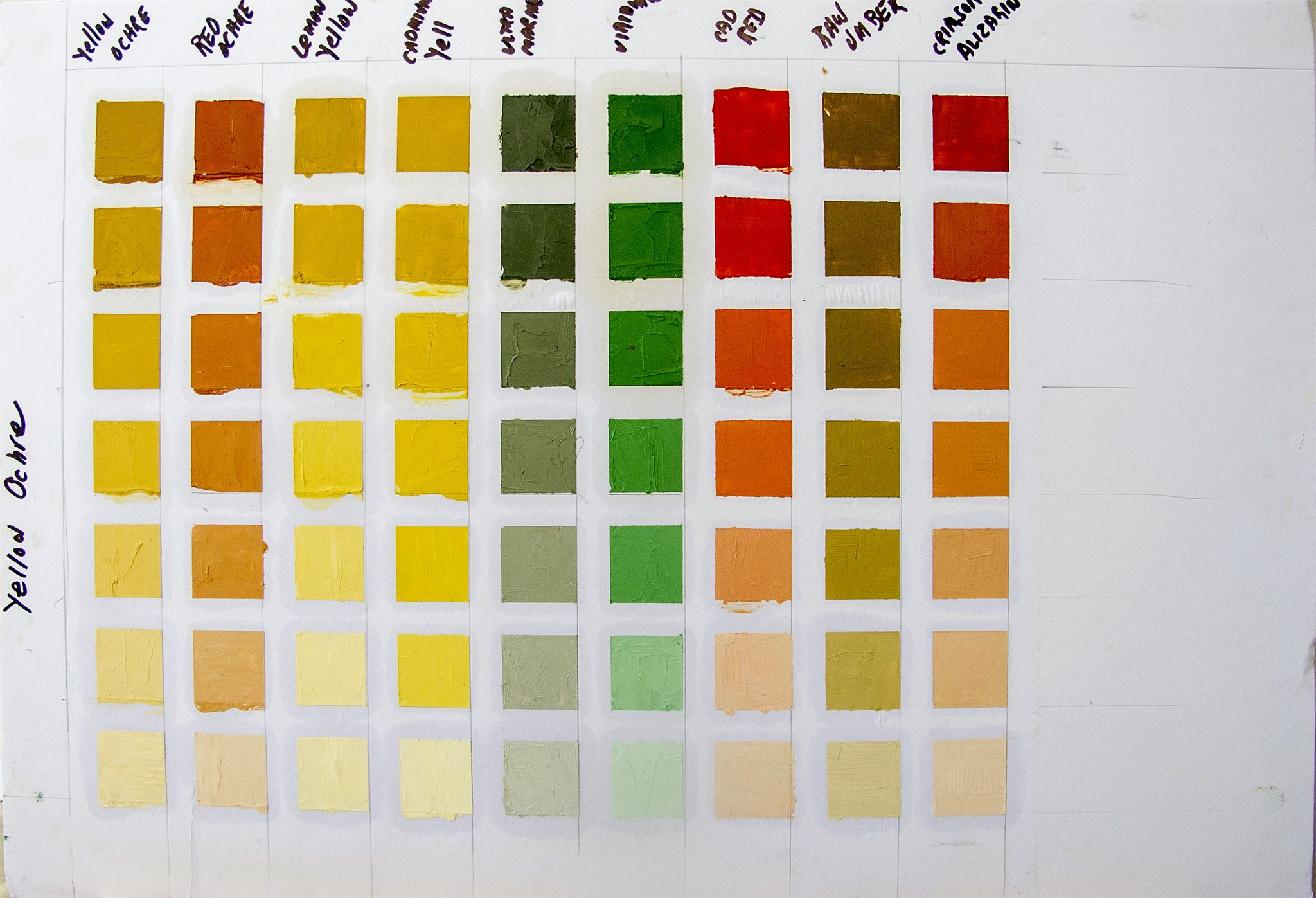 Yellow Ochre Chart Color Mixing Chart Mixing Paint Colors Color Mixing