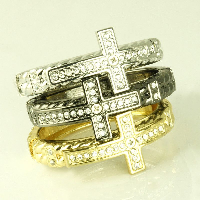 Alloy Pave Cross Bangle Bracelets