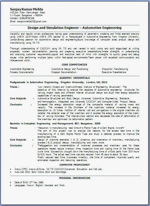 curriculum vitae student Sample Template Example ofExcellent - sample engineer job description