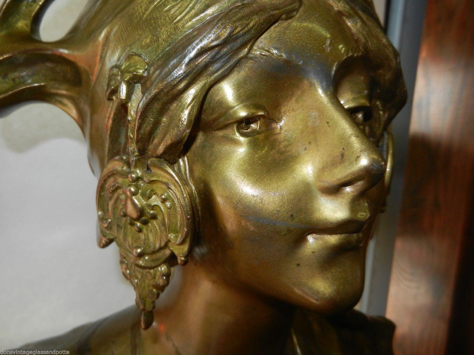 Art Nouveau Signed H Jacobs Bronzed Bust Woman Alliot Napoleon 1904 Ebay Art Nouveau Art Bronze