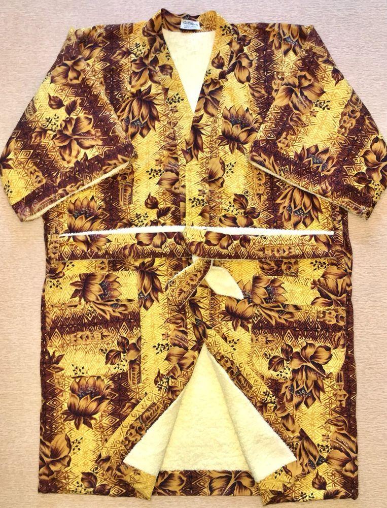 0d5bfde393621 VINTAGE HAWAIIAN TIKI & FLORAL ROBE: Terrycloth Lined POOLSIDE / CABANA /  BATH   eBay