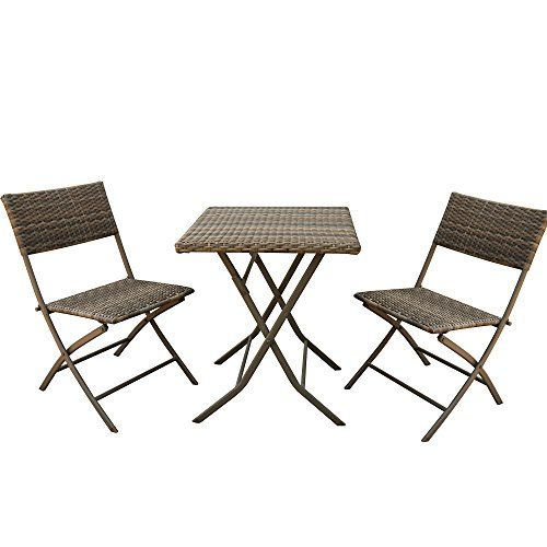 Patioroma 3 Pcs Outdoor Rattan Steel Folding Table And Chairs Bistro Set Gradient Grey Brown Outdoor Folding Chairs Lounge Chair Outdoor Wicker Patio Furniture