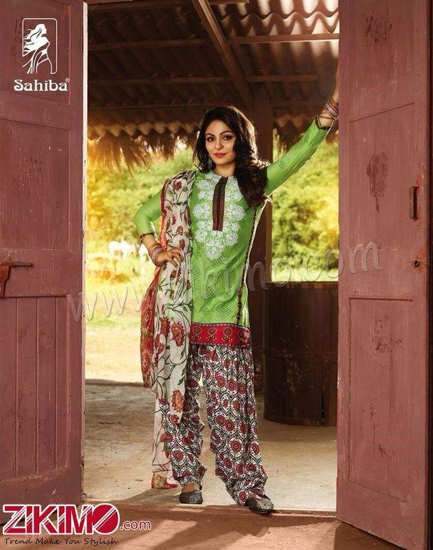 Sahiba Neeru Bajwa Punjabi Patiala Green Salwar Suit Bollywood