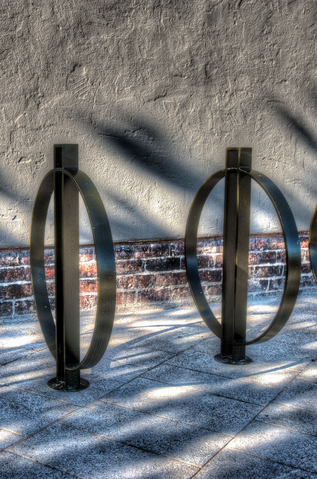 Section of a abstract photo of a bike rack