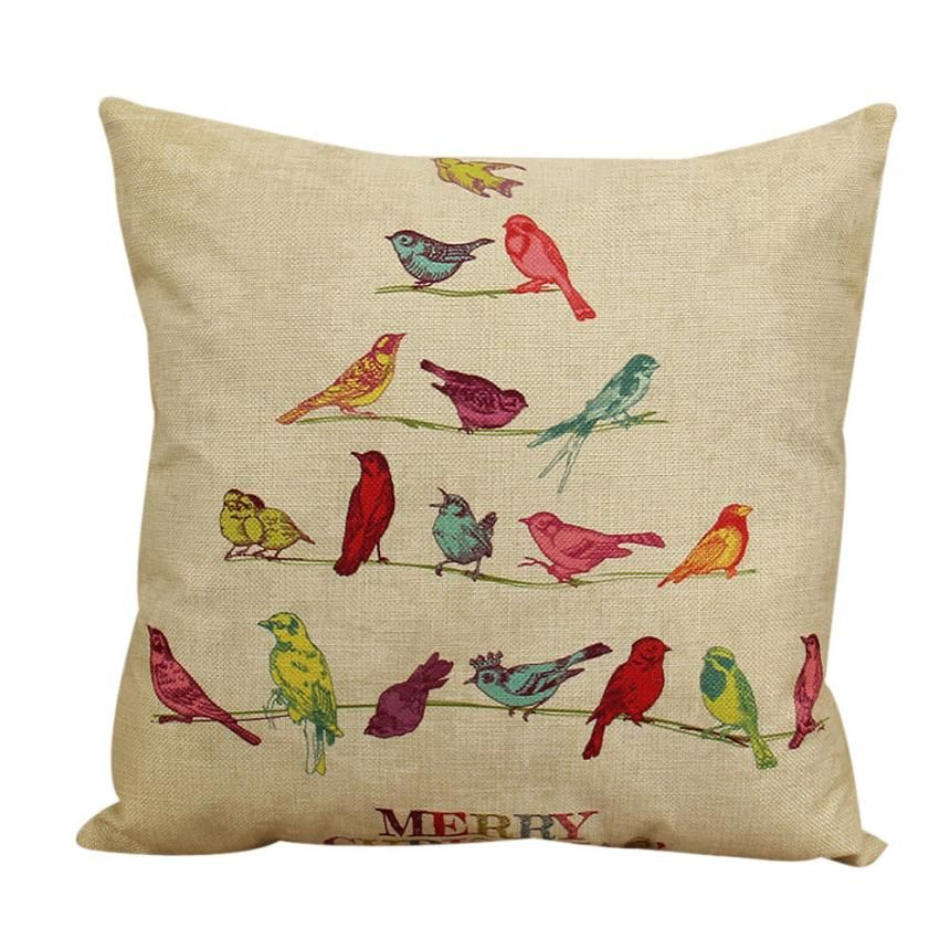 Pillow Case Christmas Bird Pattern Home Decorative Cushion Cover Vintage Pillow Cover For Sofa Cojines Decorativos