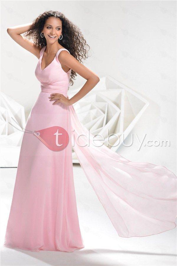 Vestido de Prom/Noche con Cuello en V y Dobladillo Largo al Piso ...