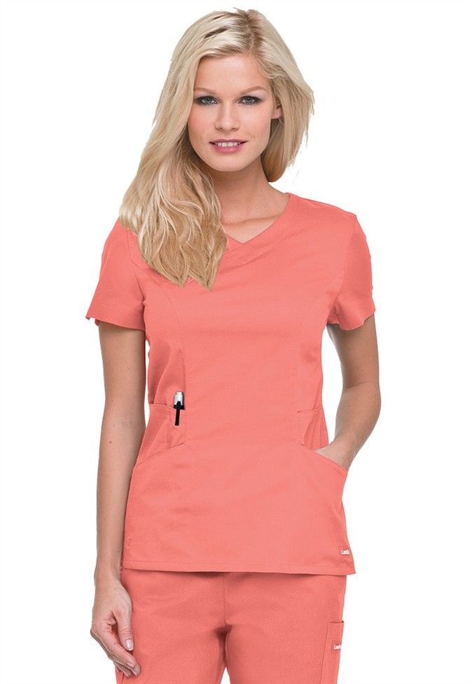 678ebee0a2b CORAL Landau Smart Stretch 5 pocket crossover scrub top. - Scrubs and  Beyond. Don't think I could pull this color off but it is beautiful