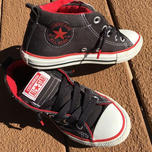 7bf352047fc4 Black   red Converse 3 4 top sneakers kids size 2. Kids Converse All Star 3 4  top sneakers. Black and red. Lightly worn. Great shape.