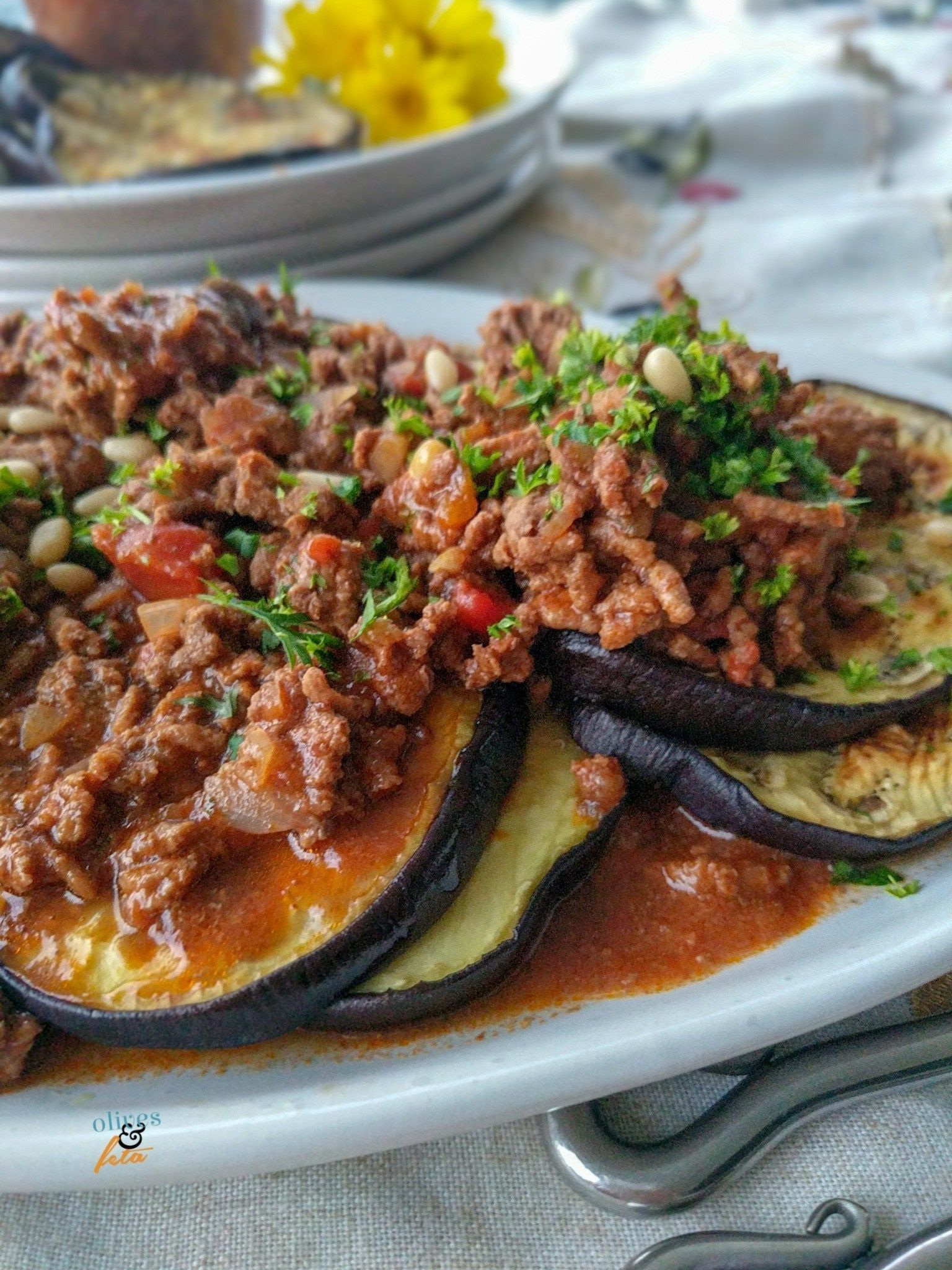 Healthy Grilled Eggplant Layered And Stacked With Herbed Ground Beef A Quick Mid Week Meal Olivesandfeta Healthy Grilling Meals Grilled Eggplant
