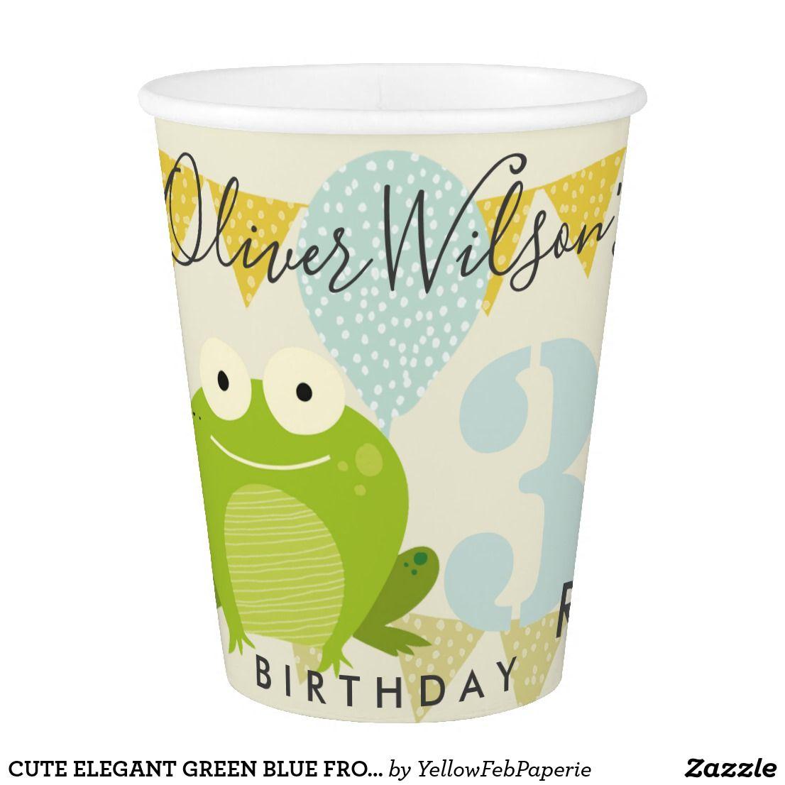 Cute Elegant Green Blue Frog Birthday Celebration Paper Cup