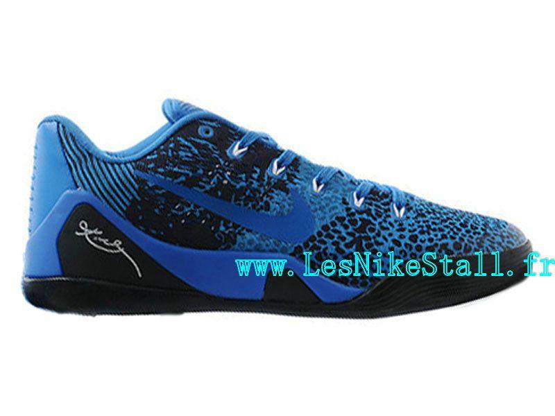 fa7fc94b745 Officiel Nike Kobe 9 IX Low EM iD - Chaussures de Basketball Pas Cher Pour  Homme Noir Bleu 653972-ID2
