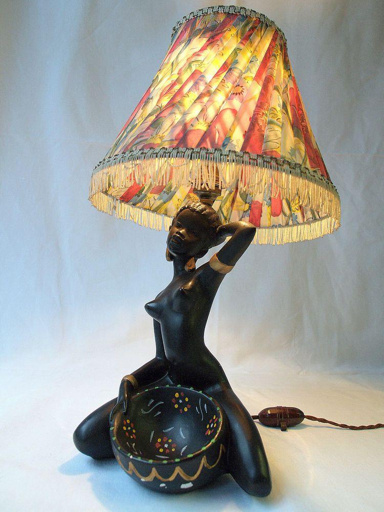 Vintage Mid Century African Woman Lamp George Barsony Style 1950s Plaster Ev Dekoru Dekor