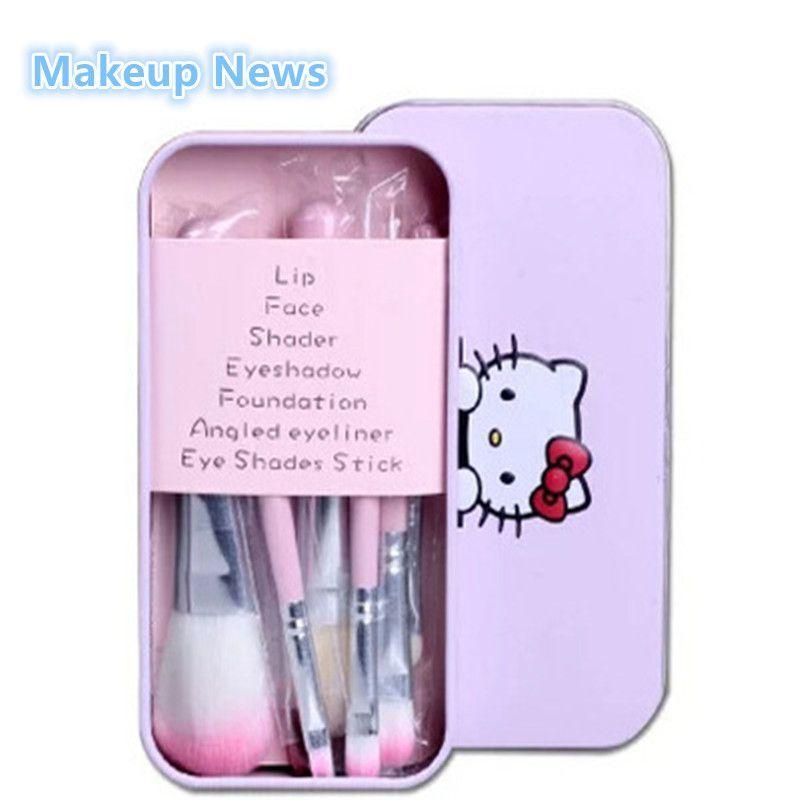 20d8b82f1 New Hello Kitty 7Pcs/lot Mini Makeup brush Set cosmetics kit de pinceis de  maquiagem make up brush Kit with Metal box naked