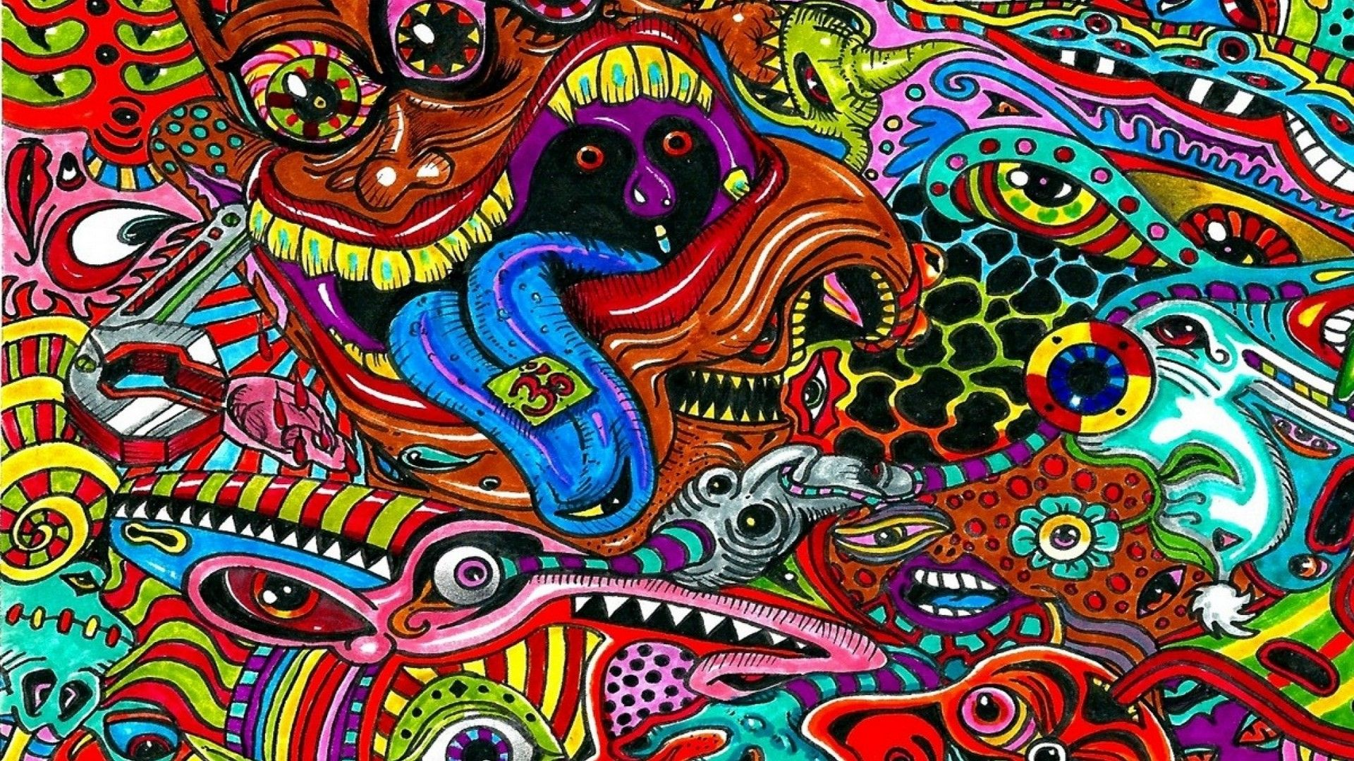 Psychedelic Art Background Wallpaper HD Trippy wallpaper