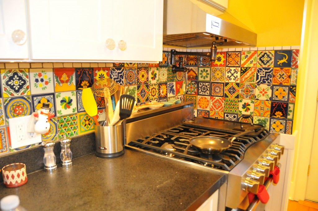 Eclectic Mixed Talavera Tile Backsplash Talavera Tile Kitchen