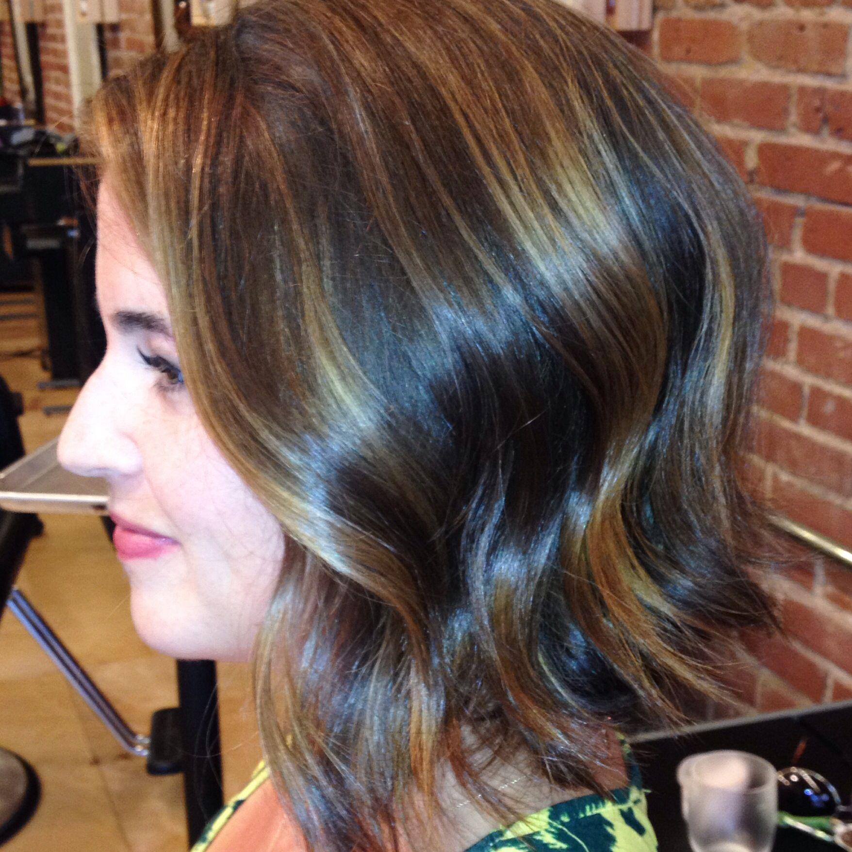 brunette hair wavy bob Balayage highlights Olaplex Davines Oi