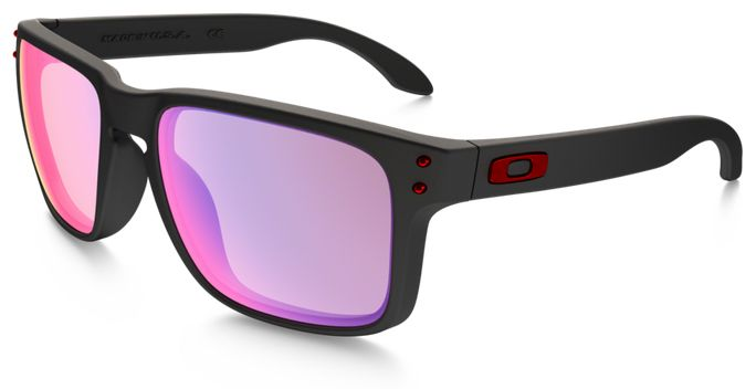 red and black oakleys  Oakley Holbrook Sunglasses with Matte Black Frame and +Red Iridium ...