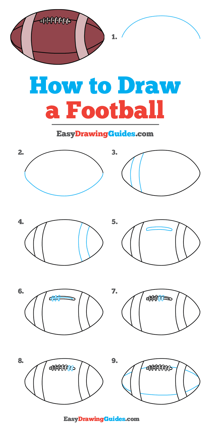 How To Draw A Football Really Easy Drawing Tutorial Drawing Tutorial Easy Drawing Tutorials For Kids Drawing Tutorial