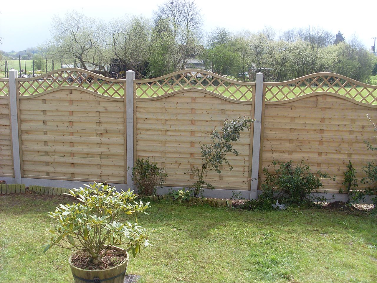 Concave and convex fence panels in concrete posts | fencing