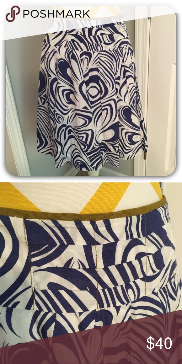 """CABI patterned skirt Blue & white patterned skirt. So pretty and versatile! Beyond pattern the details make this skirt special. In excellent condition. Full cotton lining. Skirt is Rayon/Cotton blend.  21"""" Length CAbi Skirts Midi"""
