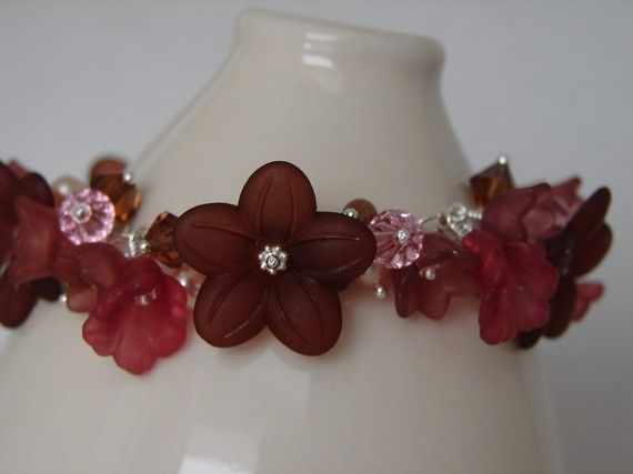 Lucite Flower Charm Bracelet Brown & Pink on Sterling by Oogle, $55.00
