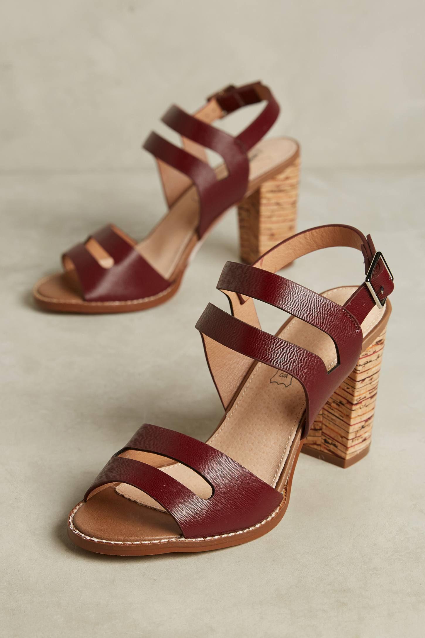 Vanessa Wu Plum Block Heel Sandals