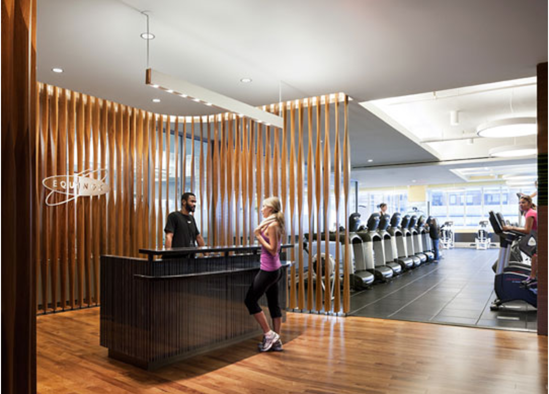 Equinox Gym Slatted Partition Walls Move Along A Track