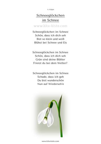 """gedicht winter kinder """"schneeglöckchen im schnee"""" kita"""