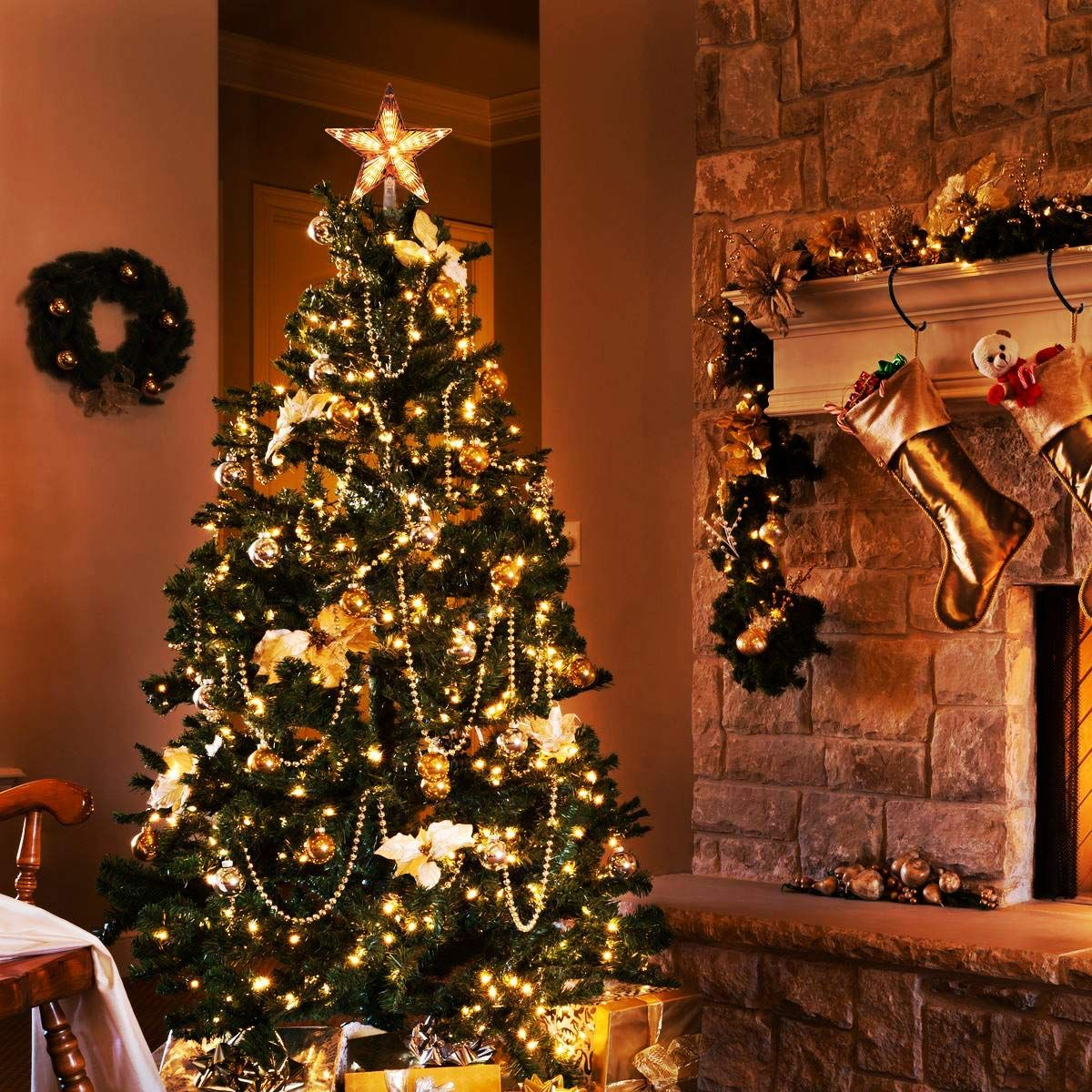 Amazon Com 9 Inch Lighted Star Tree Topper Yunlights Gold Glittered Vintage Christmas Tree Toppers Lighted Different Christmas Trees Lighted Star Tree Topper