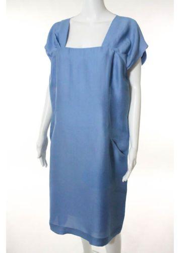 ALBERTA-FERRETTI-Blue-Sleeveless-Dress-Sz-14