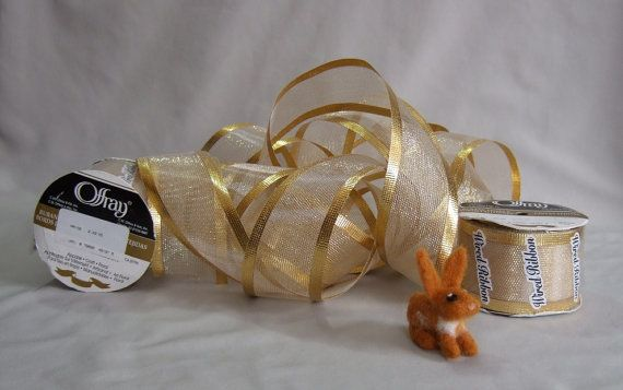 New Wired Gold Ribbon Wedding or Christmas Offray Wide Metallic 30 FT One Full Roll ~ Final Sale Priced