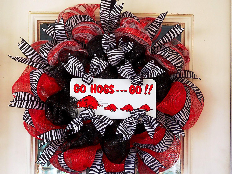 Arkansas Razorback Deco Mesh Wreath Decor Go Hogs