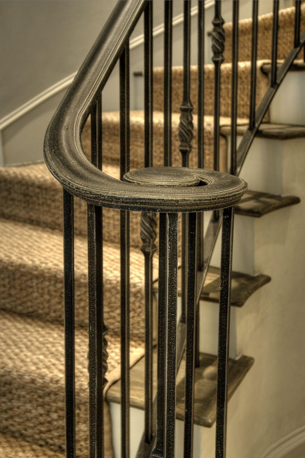 Stair Railing Painted Black With Milk Wash Glazes To