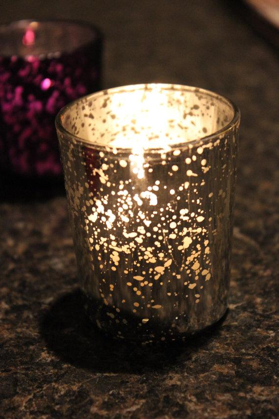 set of 50 mercury glass silver speckled glass candle holders votive holder tea light vintage