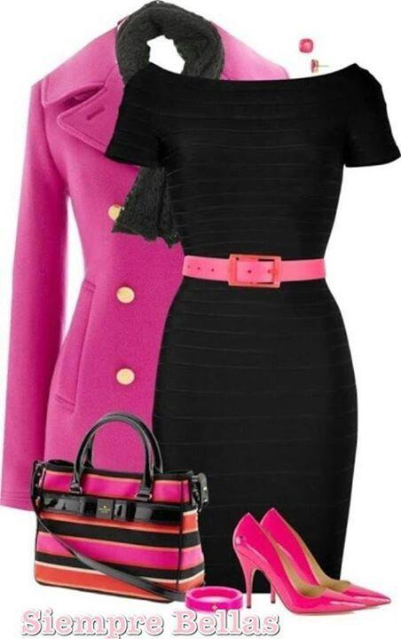 Vestido negro con rosa fiusha